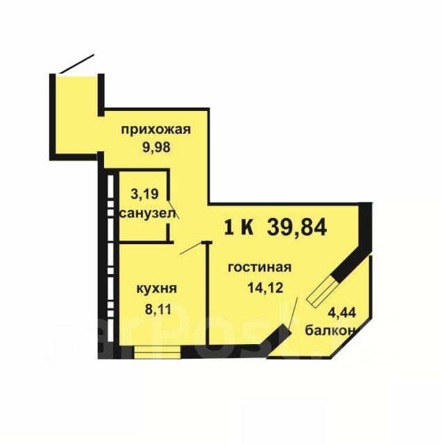 1-комнатная, улица Александра Зеленского 34. Междуречье, агентство, 40 кв.м. План квартиры