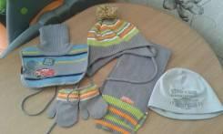 Шапка, шарф и варежки. Рост: 80-86, 86-92, 92-98 см