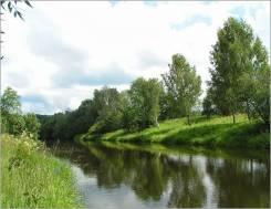 12 соток земли на речке. Высокий берег реки Дубна. 90 км. от Москвы. 1 200 кв.м., собственность, электричество, вода, от частного лица (собственник)