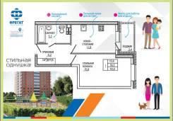 1-комнатная, улица Ватутина 33. 64, 71 микрорайоны, застройщик, 40 кв.м. План квартиры