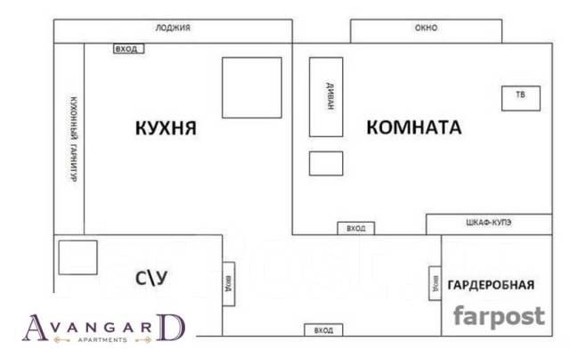 1-комнатная, улица Светланская 157. Центр, 34кв.м. План квартиры