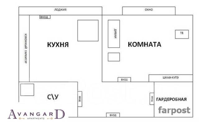 1-комнатная, улица Светланская 157. Центр, 34 кв.м. План квартиры