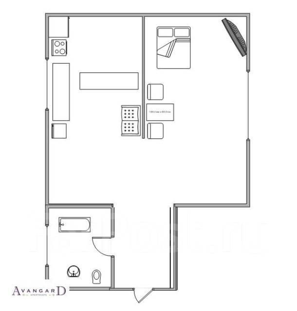 2-комнатная, улица Светланская 117. Центр, 54 кв.м. План квартиры