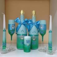 Оформление бутылочек, бокалов, свечей и тд.