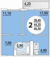 2-комнатная, улица имени 40-летия Победы 97. агентство, 46 кв.м.