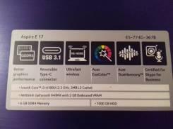 Acer Aspire E5. 2,3ГГц, ОЗУ 6144 МБ, диск 1 000 Гб, WiFi, Bluetooth, аккумулятор на 5 ч.