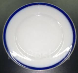 Тарелка мелкая. Синяя кайма. Клеймо. Раннее Дулево. Фарфор. Оригинал. Под заказ