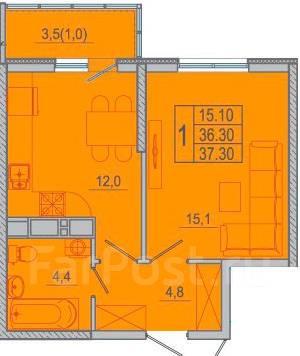 1-комнатная, Мысхакское шоссе. агентство, 37 кв.м.