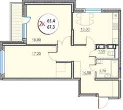 2-комнатная, улица Героев-Разведчиков 12. агентство, 67 кв.м.
