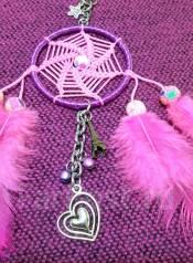 Брелок Ловец удачи розовый с сердечком на сумочку
