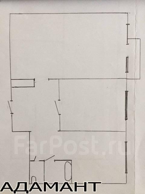 2-комнатная, улица Карбышева 34. БАМ, проверенное агентство, 44 кв.м. План квартиры