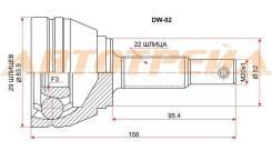 Шрус подвески. Daewoo Lanos Daewoo Nexia, KLETN Daewoo Cielo Двигатели: A15SMS, A15MF, F15MF, G15MF