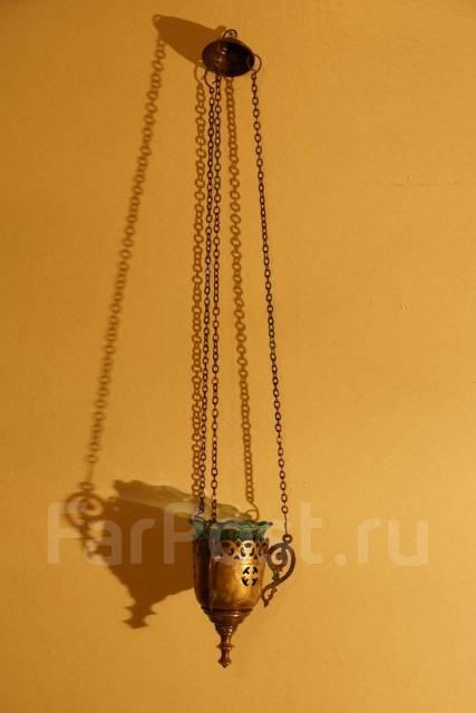 Старинная подвесная лампада из латунного сплава со стаканом из стекла. Оригинал