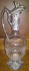 Графин. Гравированное стекло. Горловина шпиатр с остатками серебрения. Оригинал. Под заказ