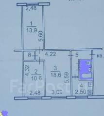 3-комнатная, улица Русская 52. Вторая речка, частное лицо, 60 кв.м. План квартиры
