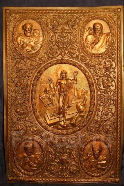Пара оригинальных старинных окладов для напрестольного Евангелия. 19 в