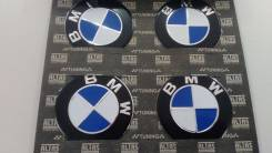Заглушки, накладки на литье BMW 4 шт D 5.5 см голубой фон