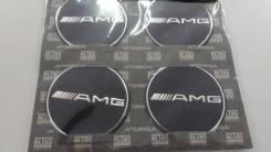 Заглушки, накладки на литье Mercedes AMG 4 шт D 5.7 см черный фон