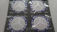 Заглушки, накладки на литье Mercedes 4 шт D 6 см серый фон. Mercedes-Benz