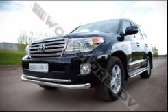 Защита бампера. Toyota Land Cruiser, URJ202, URJ202W, VDJ200, URJ200, J200, GRJ200, UZJ200W, UZJ200 Двигатели: 1GRFE, 1URFE, 3URFE, 2UZFE, 1VDFTV