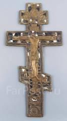 Большой напрестольный (киотный) Крест-распятие с эмалями. Xviii век. Оригинал