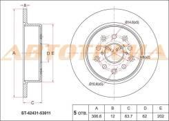 Диск тормозной зад toyota alteza ##e1#/mark2 jzx110 00-04/aristo jzs161/lexus is200/300