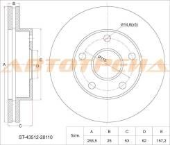 Диск тормозной передний TOYOTA Town/Lite Ace Noah 4WD CR5#/SR50, Estima CXR1#/2# TCR1#/2#