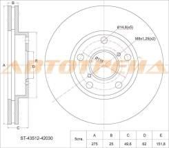 Диск тормозной передний TOYOTA RAV4 ACA/ZCA2# 00-, Camry SV32/33 ZX/GT/VX 90-94 ST-43512-42030