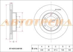 Диск тормозной передний TOYOTA Land Cruiser Prado #J12#, Lexus GX470 02-