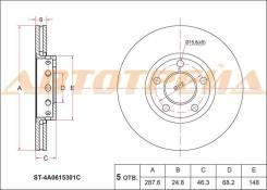 Диск тормозной перед VAG 100 91-/A4 95-08/A6 95-05/PASSAT V 97-05/SUPERB 01-08
