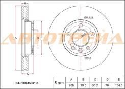 Диск тормозной передний VOLKSWAGEN TOUAREG 02-10/TRANSPORTER 03- SAT ST-7H0615301D