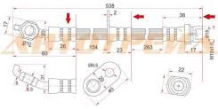 Шланг тормозной передний (Таиланд) TOYOTA CAMRY/GRACIA/HARRIER/MARK2 QUALIS/WINDOM/LEXUS ES300/RX300ST-90947-02875