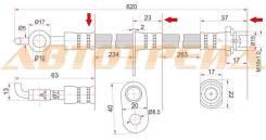 Шланг тормозной передний (Таиланд) TOYOTA COROLLA/SPACIO/RUNX/IPSUM/ISIS/MATRIX/NOAH/VOXY/PREMIO/VOL