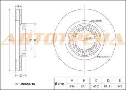 Диск тормозной передний MITSUBISHI Pajero II/Sport/Challenger V2#/3#/4#, K9# 91-, Delica Truck/L200