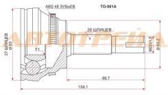 Шрус TY Camry ACV3#/ACV4# 01-09, Harrier ACU3#/MCU35, Ipsum ACM2#, Kluger ACU25/MCU25, RAV-4 ACA20/1