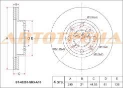 Диск тормозной передний HONDA Civic/Ferio EG5/7/8, EK2/3, EJ9, ES# (4D) 92-00-, Domani MA7, MB3/4 94