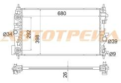 Радиатор CHEVROLET CRUZE/OPEL ASTRA J 1.4T/1.6T 09- /OPEL ZAFIRA C 10-
