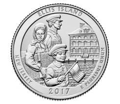 Квотер = 25 центов - 2017 год (39 парк - Нац монумент острова Эллис)