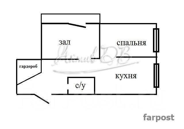 2-комнатная, улица Мусоргского 15ж. Седанка, проверенное агентство, 38 кв.м. План квартиры