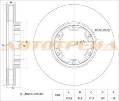 Диск тормозной передний NISSAN Atlas F24, Caravan/Urvan E25 ST-40206-VW000