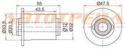 Сайлентблок нижнего рычага TOYOTA AURIS/AVENSIS/BLADE/RUMION/MARK X ZIO/RAV4 05- ST-48704-42050