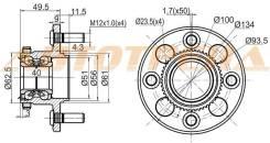 Ступичный узел RR HONDA CIVIC EK3 95-00 (барабан)