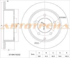 Диск тормозной зад Mitsubishi Lancer X 4B10/11, 4A91 CY#, 07- ST-MN116332