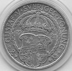 2 кроны 1921г. Швеция. 400 лет политической свободы (Серебро)