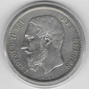 Отличные 5 франков 1871г. Бельгия (Серебро)