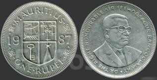 Маврикий 1 рупия 1987 год (иностранные монеты)