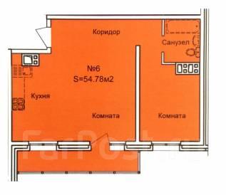 2-комнатная, ул. Ленинградская. Центральный, агентство, 53 кв.м.