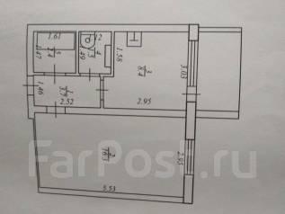 1-комнатная, улица Раздольная 10а. Семь ветров, частное лицо, 33 кв.м. План квартиры