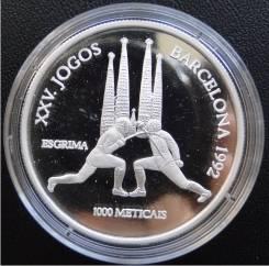1000 метикалов.2004г. Мозамбик. Олимпиада/Фехтование. Серебро. RARE. Proof.