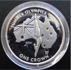 1 крона.1999г. О-в Мэн. Олимпиада/Прыжки в воду. Серебро. RARE. Proof.